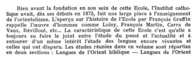   École des Langues Orientales Anciennes de l'Institut Catholique de Paris - Mémorial du Cinquantenaire 1914-1964.