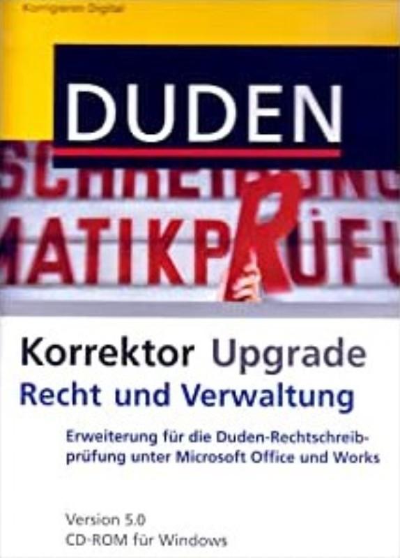 | Duden Korrektor Upgrade - Recht und Verwaltung. Erweiterung der Duden-Rechtschreibprüfung unter Microsoft Office und Works. Version 5.0