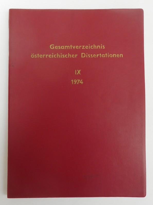 | Gesamtverzeichnis österreichischer Dissertationen. IX/1974.