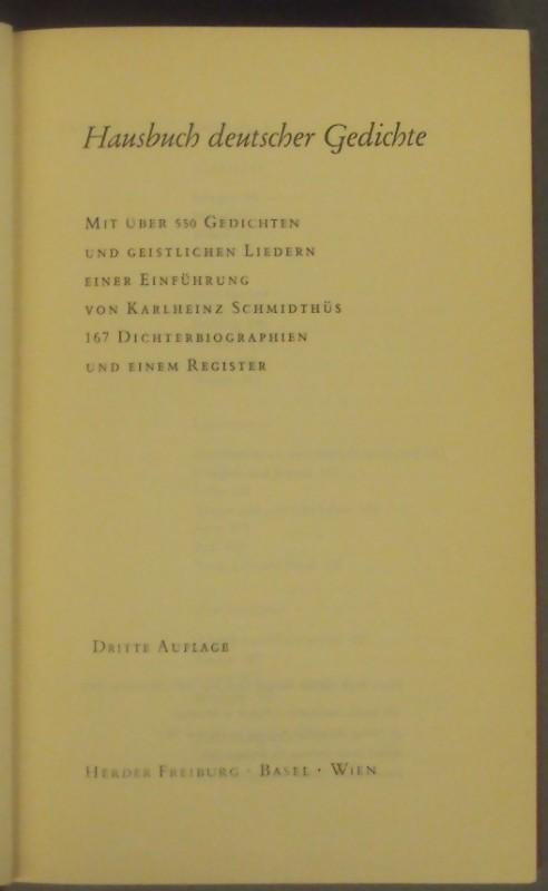 | Hausbuch deutscher Gedichte. Mit über 550 Gedichten und geistlichen Liedern