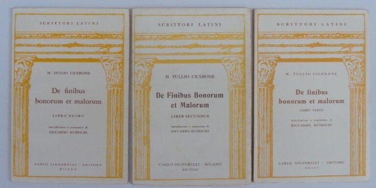 Cicero M. Tullio Cicerone: De finibus bonorum et malorum. Introduzione e commento di Riccardo Rubrichi. Libro 1-3.