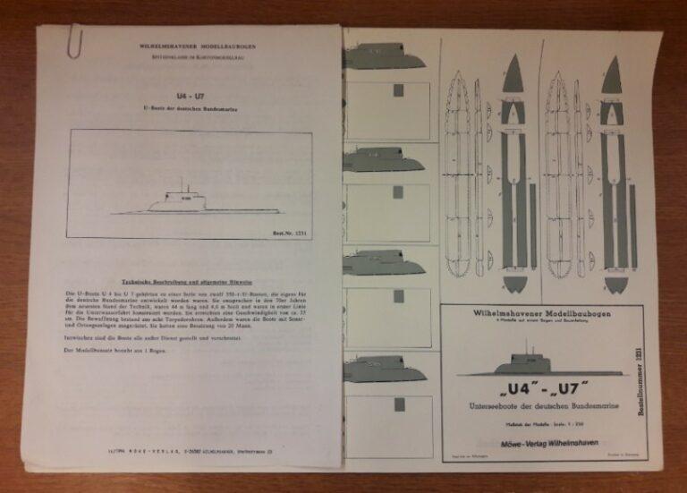 """Wilhelmshavener Modellbaubogen (Hg.) """"U4"""" - """"U7"""". U-Boote der Deutschen Bundesmarine.  4 Modelle auf einem Bogen. Mit techn. Beschreibung u. Bauanleitung."""