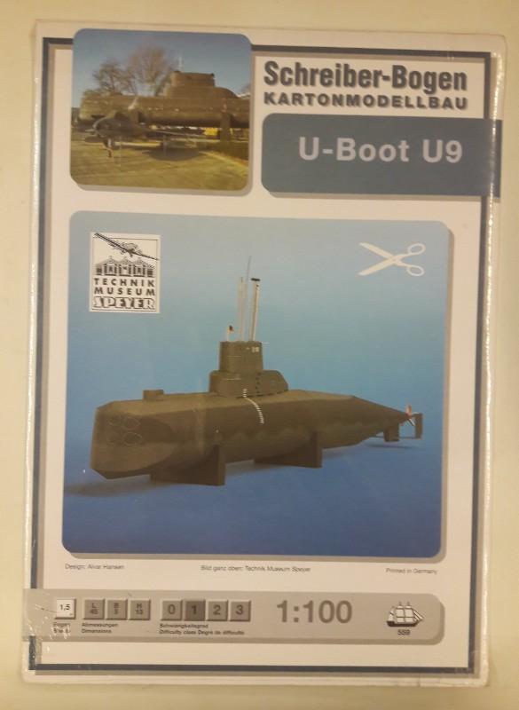 Technikmuseum Speyer Schreiber-Bogen Kartonmodellbau U-Boot U9. 1:100. Neuwertig.