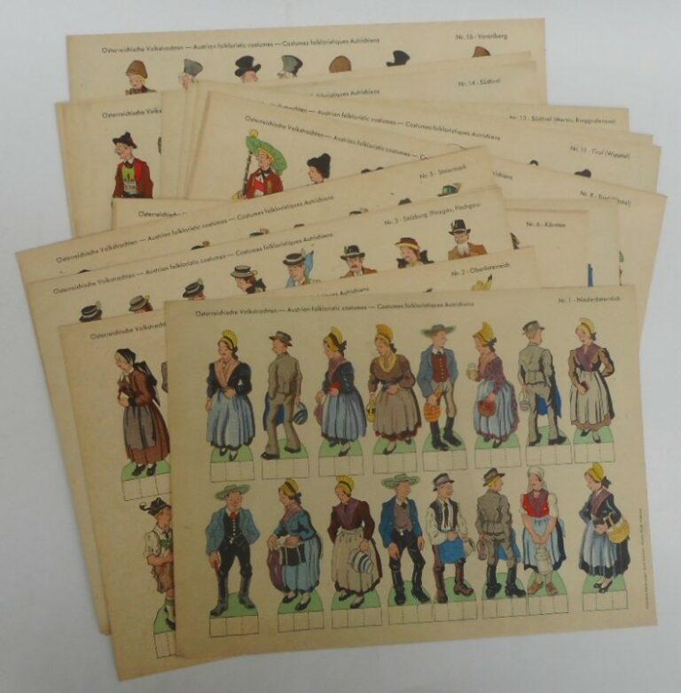 | Österreichische Volkstrachten - Austrian folkloristic costumes - Costumes folkloristiques Autrichiens. Kolorierte Zeichnungen: Ernst Kainrath. 16 Blätter.