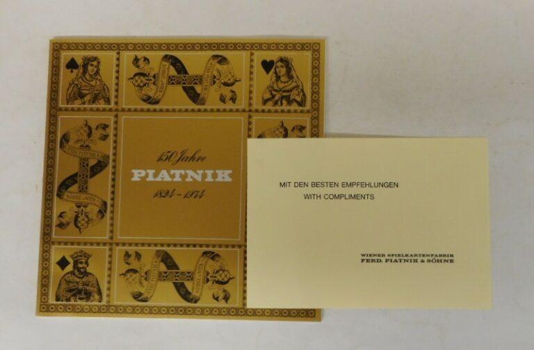 Wiener Spielkartenfabrik Ferd. Piatnik & Söhne (Hg.) 150 Jahre Piatnik 1824-1974. Mit zahlr. Abb.