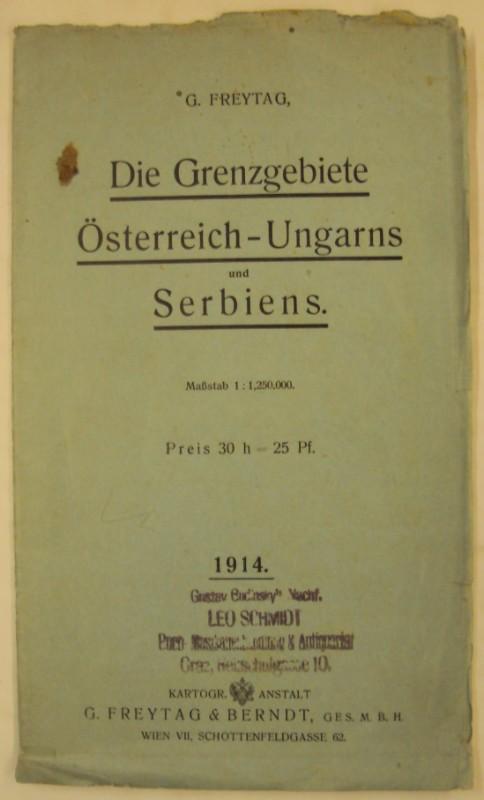Landkarte 1914 Die Grenzgebiete Österreich-Ungarns und Serbiens. Maßstab 1:1