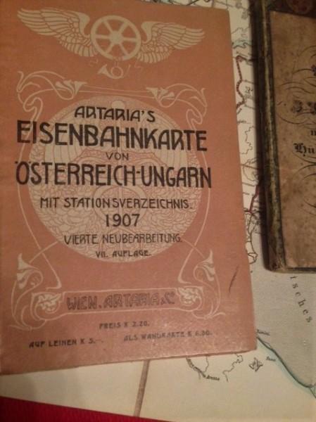 Artaria's Eisenbahnkarte Artaria's Eisenbahnkarte von Österreich-Ungarn mit Stationsverzeichnis. 4.Neubearbeitung