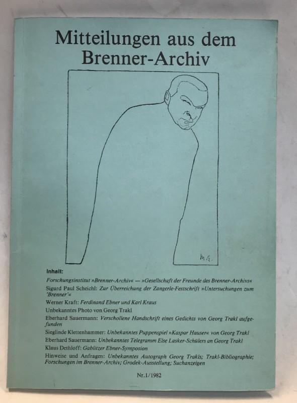 | Mitteilungen aus dem Brenner-Archiv. Nr. 1/1982