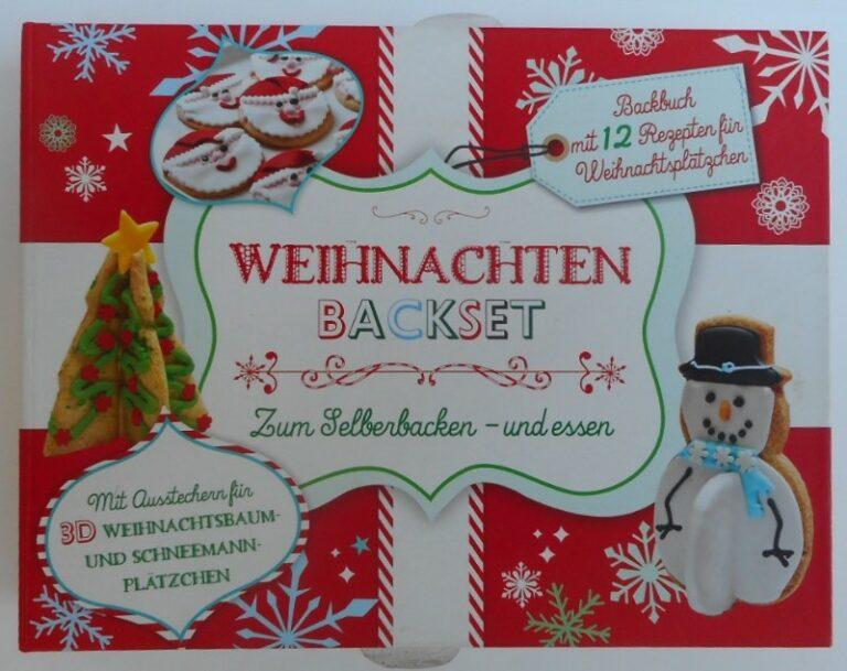   Weihnachten Backset. Zum Selberbacken und essen. Backbuch mit 12 Rezepten für Weihnachtsplätzchen. Mit Ausstechern für 3D Weihnachtsbaum- und Schneemann-Plätzchen.
