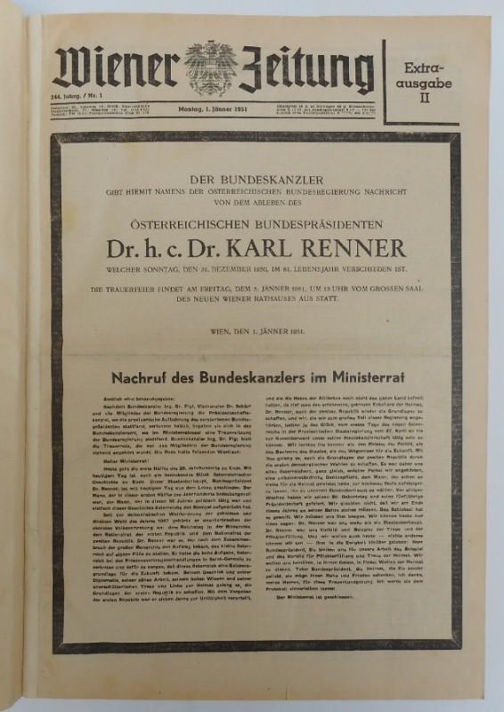 | Wiener Zeitung. 244. Jg. (1951)