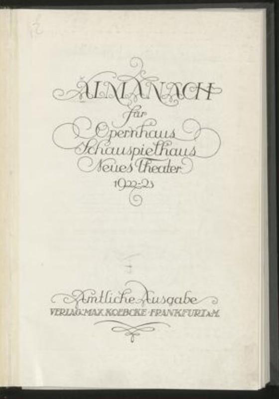 | Frankfurter Theater Almanach 1922-1923. Amtliche Ausgabe