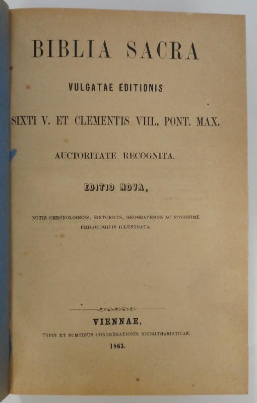 | Biblia Sacra. Vulgatae Editionis. Sixti V. et Clementis VIII.