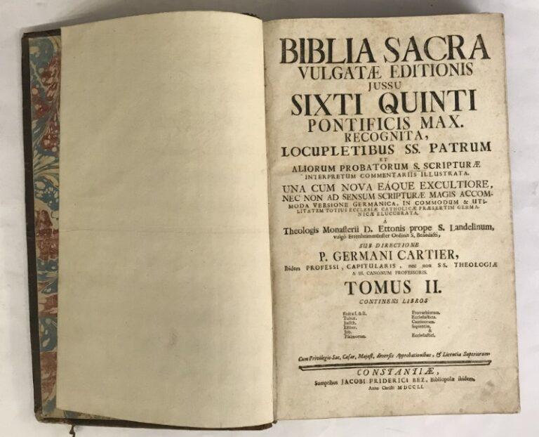 Biblia Sacra Vulgatae editionis jussu Sixti Quinti Pontif. Max. recognita